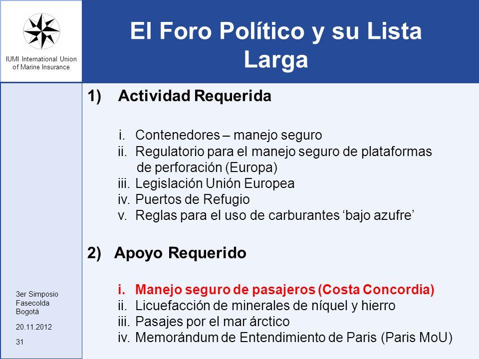 El Foro Político y su Lista Larga