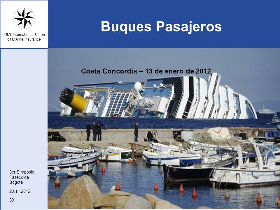 Buques Pasajeros Costa Concordia – 13 de enero de 2012 3er Simposio