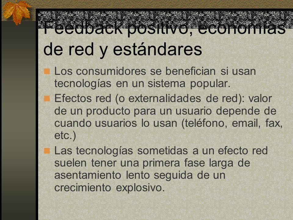 Feedback positivo, economías de red y estándares