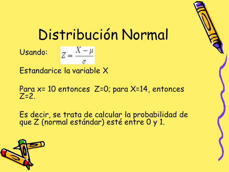 Distribución Normal Usando: Estandarice la variable X