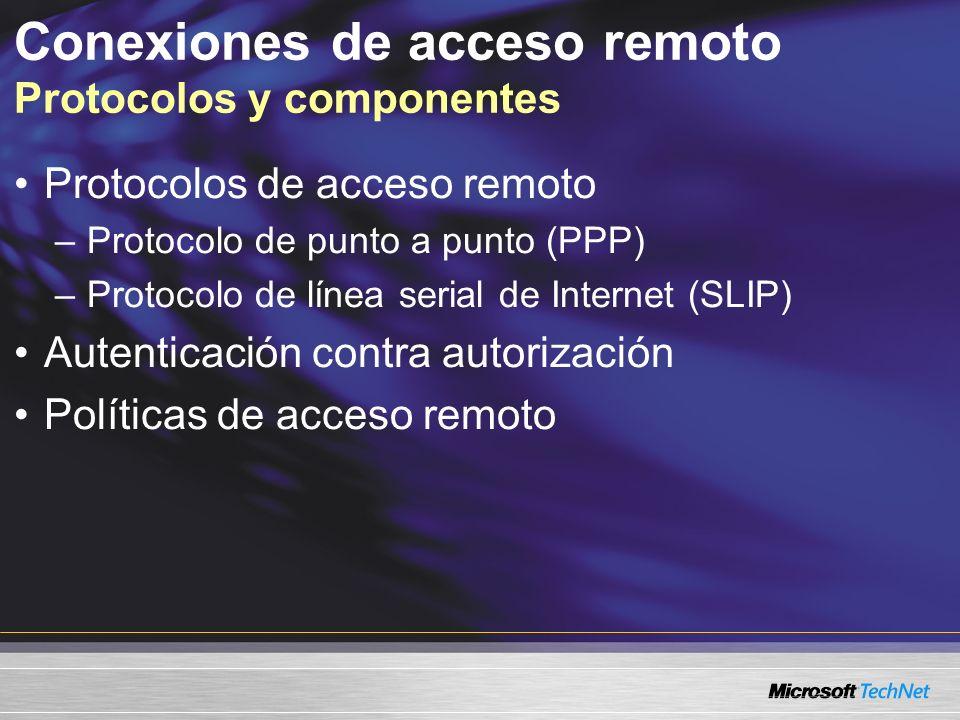 Conexiones de acceso remoto Protocolos y componentes