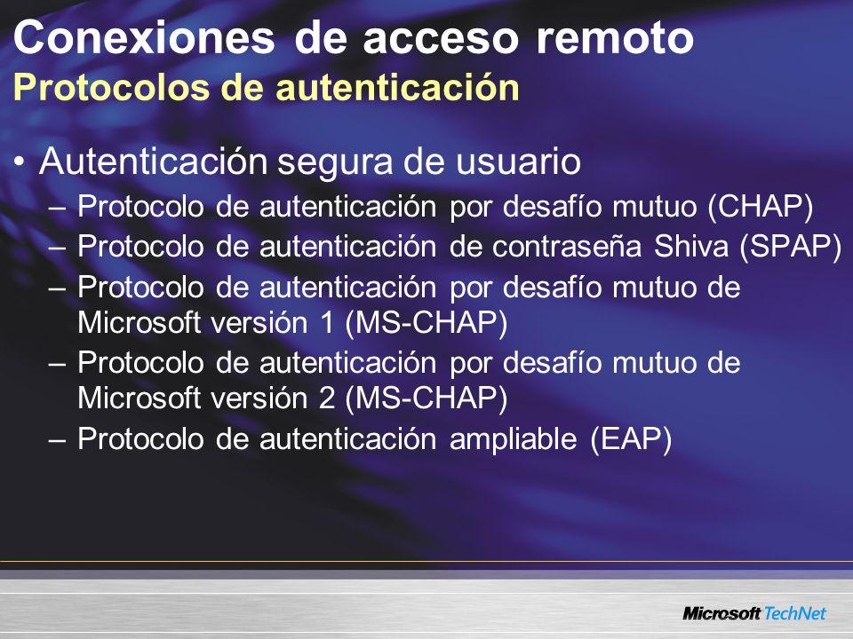 Conexiones de acceso remoto Protocolos de autenticación