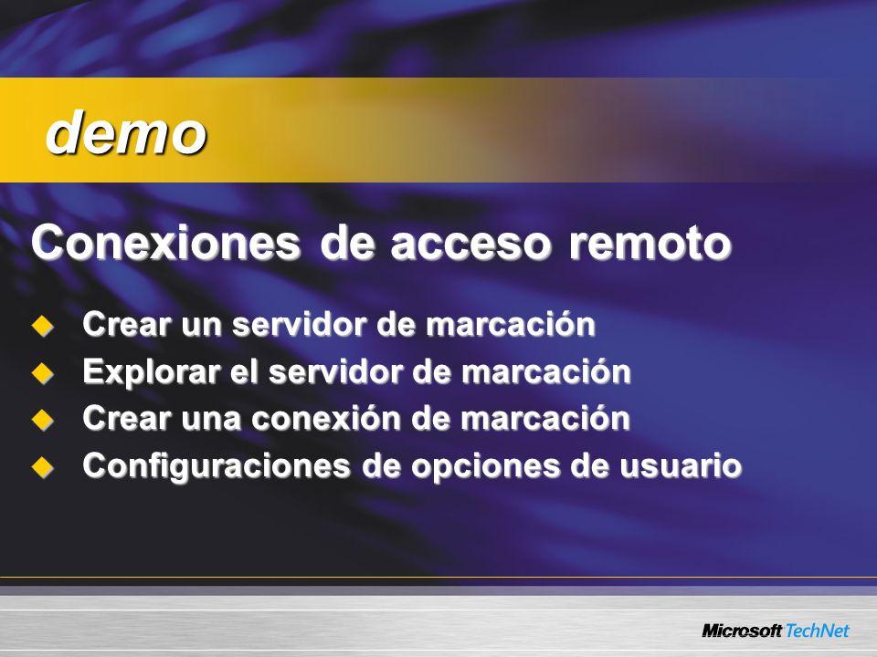 demo Conexiones de acceso remoto Crear un servidor de marcación
