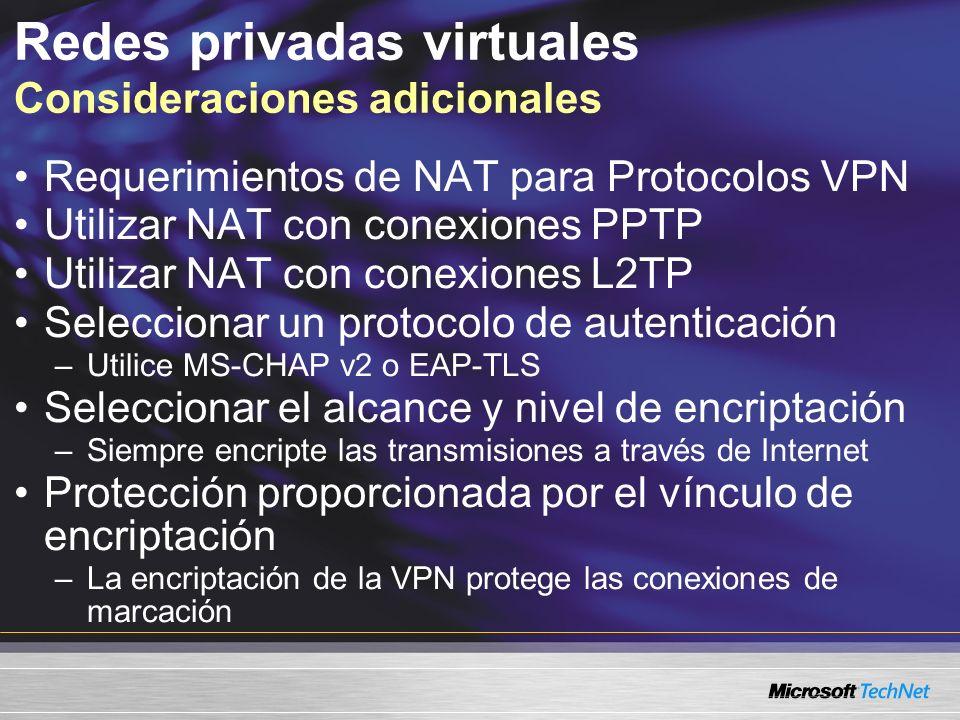 Redes privadas virtuales Consideraciones adicionales