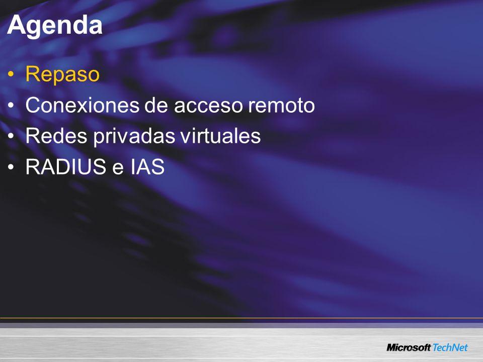 Agenda Repaso Conexiones de acceso remoto Redes privadas virtuales