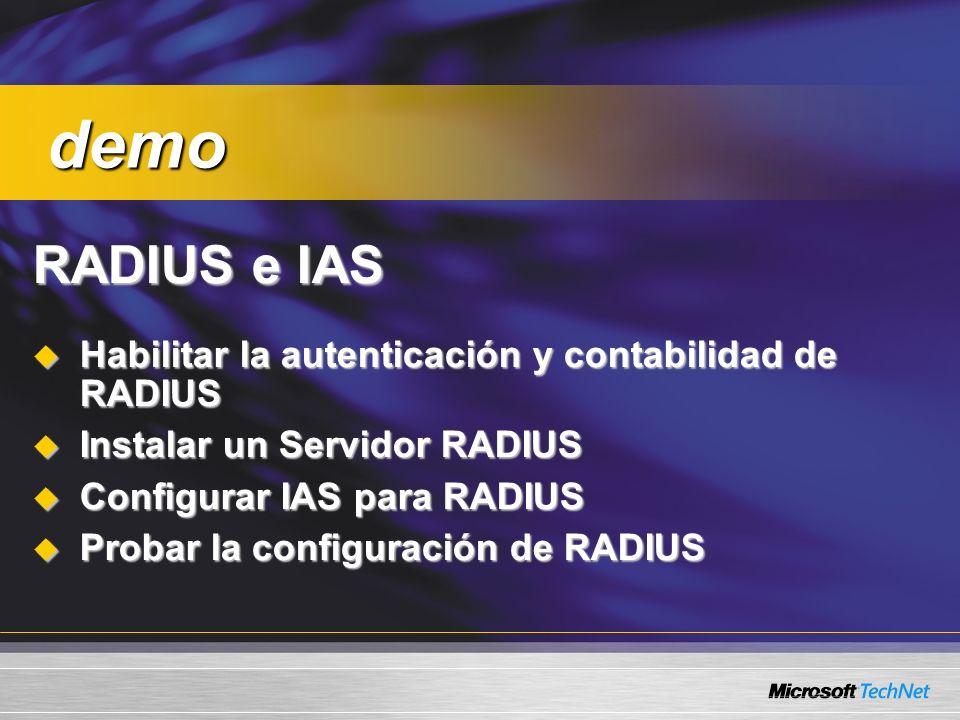 demo RADIUS e IAS Habilitar la autenticación y contabilidad de RADIUS