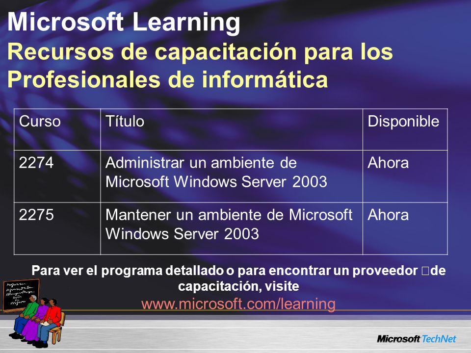 Microsoft Learning Recursos de capacitación para los Profesionales de informática