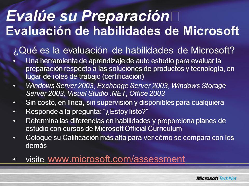 Evalúe su Preparación Evaluación de habilidades de Microsoft