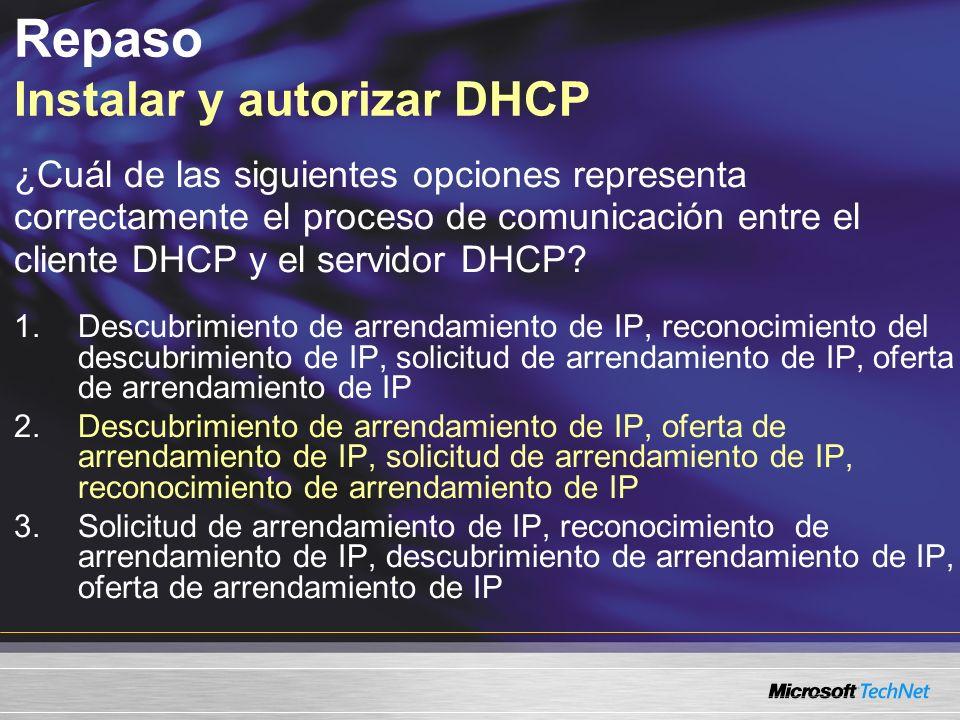 Repaso Instalar y autorizar DHCP