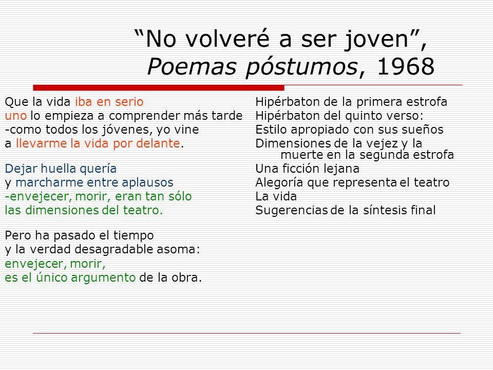 No volveré a ser joven , Poemas póstumos, 1968