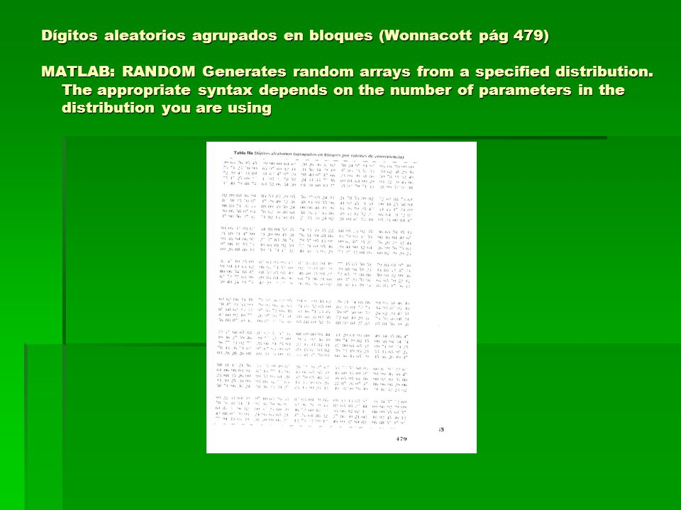 Dígitos aleatorios agrupados en bloques (Wonnacott pág 479) MATLAB: RANDOM Generates random arrays from a specified distribution.