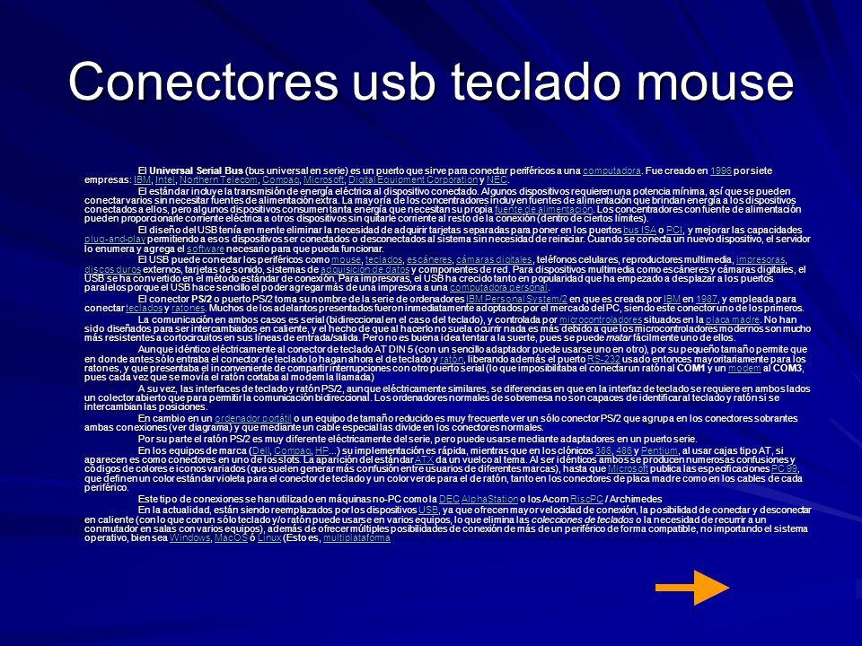Conectores usb teclado mouse