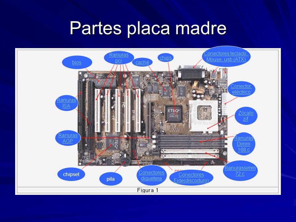 Partes placa madre Conectores teclado. Mouse, usb (ATX) Ranuras pci