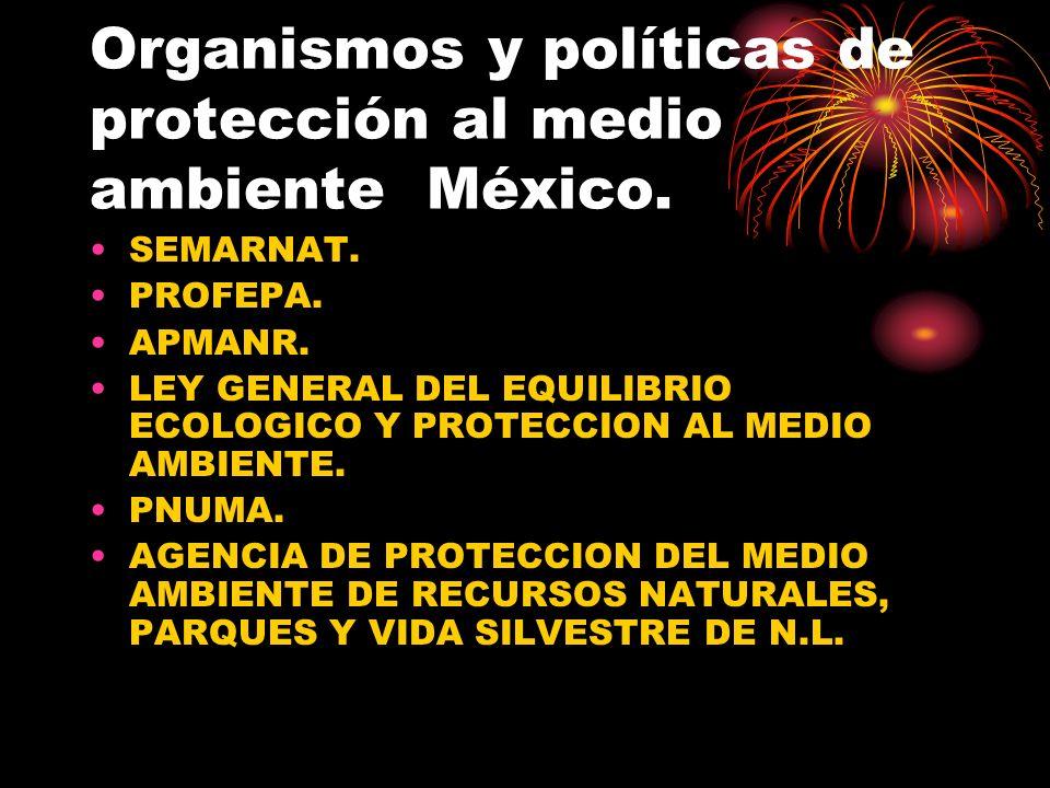 Organismos y políticas de protección al medio ambiente México.