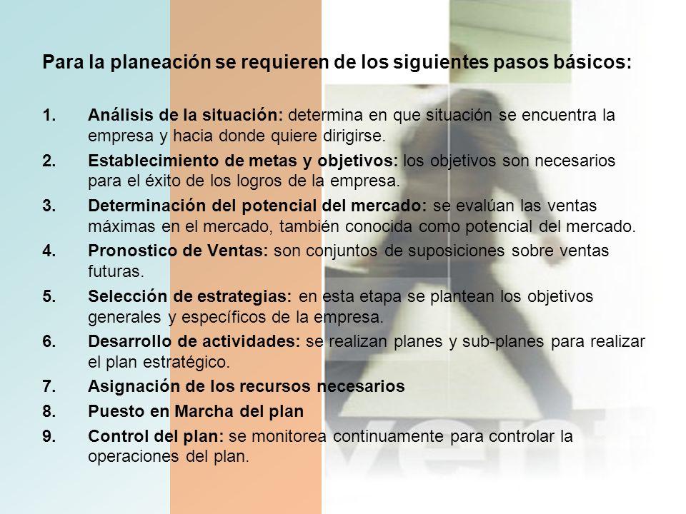 Para la planeación se requieren de los siguientes pasos básicos:
