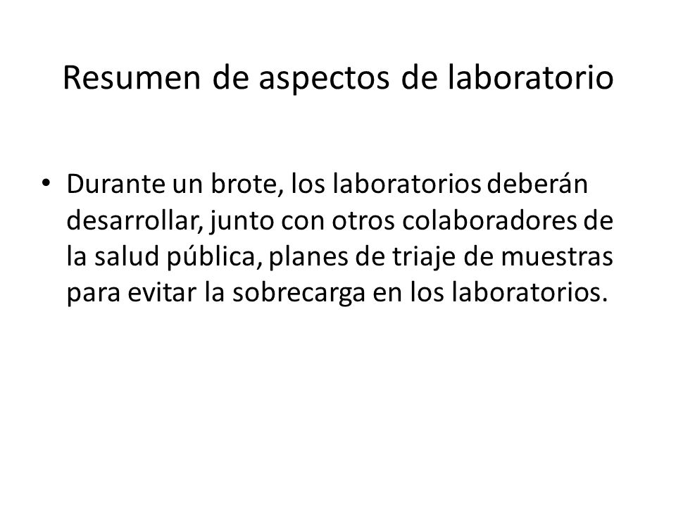 Resumen de aspectos de laboratorio