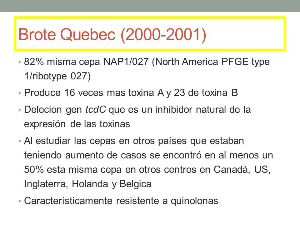 Brote Quebec (2000-2001) 82% misma cepa NAP1/027 (North America PFGE type 1/ribotype 027) Produce 16 veces mas toxina A y 23 de toxina B.