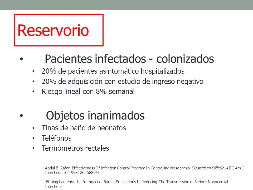Reservorio Pacientes infectados - colonizados Objetos inanimados
