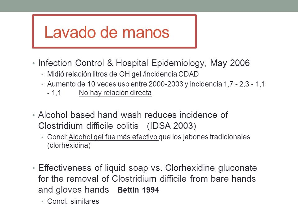 Lavado de manos Infection Control & Hospital Epidemiology, May 2006