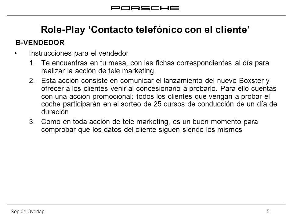Role-Play 'Contacto telefónico con el cliente'