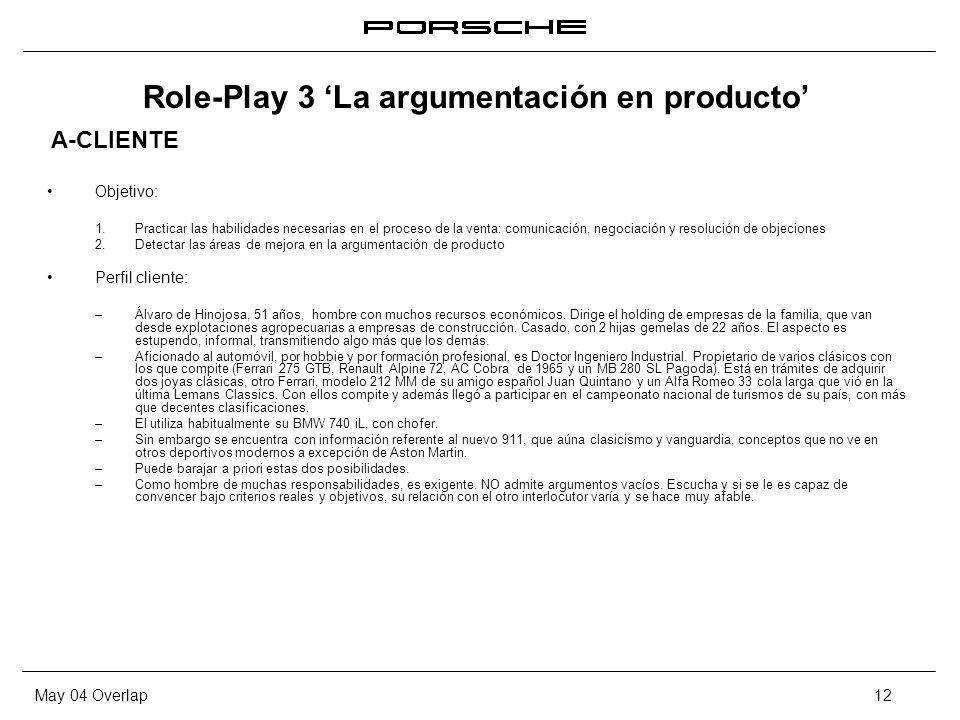 Role-Play 3 'La argumentación en producto'