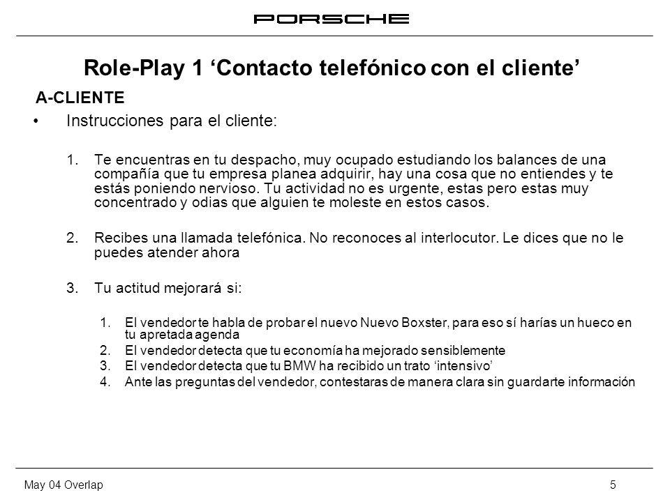 Role-Play 1 'Contacto telefónico con el cliente'