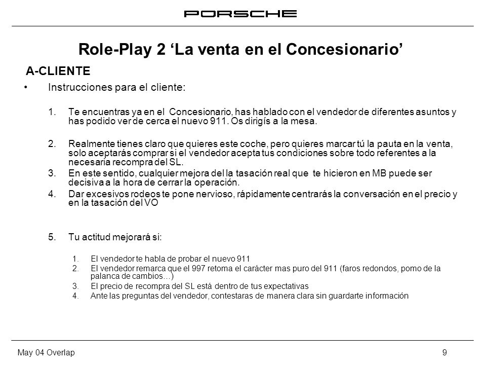 Role-Play 2 'La venta en el Concesionario'