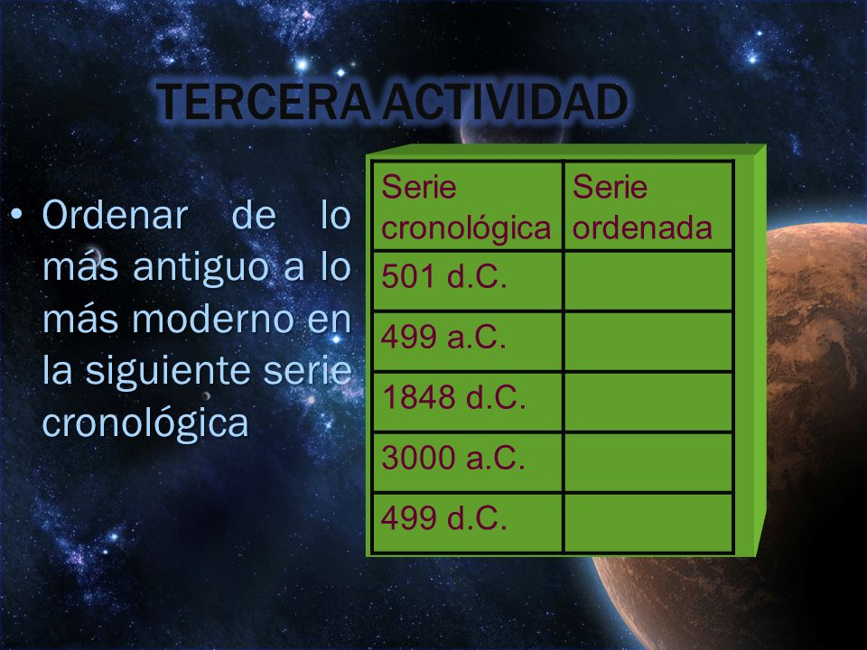 TERCERA ACTIVIDAD Serie cronológica. Serie ordenada. 501 d.C. 499 a.C. 1848 d.C. 3000 a.C. 499 d.C.