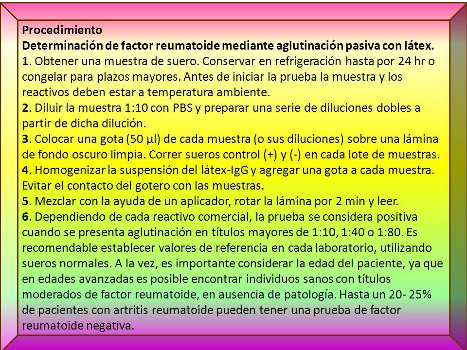Procedimiento Determinación de factor reumatoide mediante aglutinación pasiva con látex.