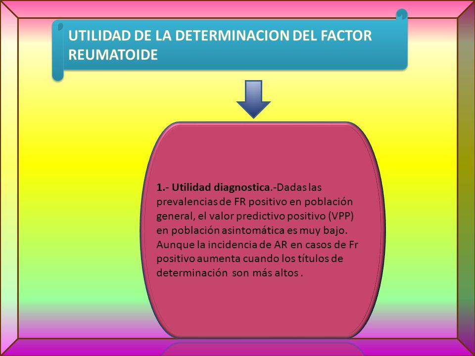 UTILIDAD DE LA DETERMINACION DEL FACTOR REUMATOIDE