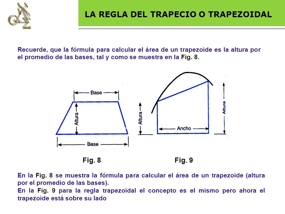 Base legal LA REGLA DEL TRAPECIO O TRAPEZOIDAL Fig. 8 Fig. 9