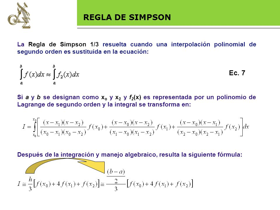 Base legal REGLA DE SIMPSON Ec. 7