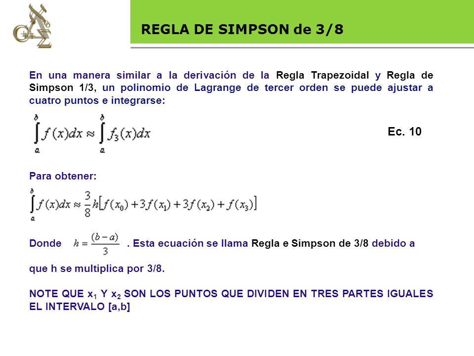 Base legal REGLA DE SIMPSON de 3/8 Ec. 10