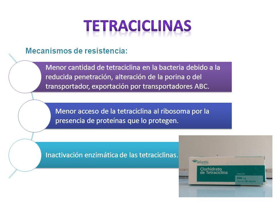 TETRACICLINAS Mecanismos de resistencia: