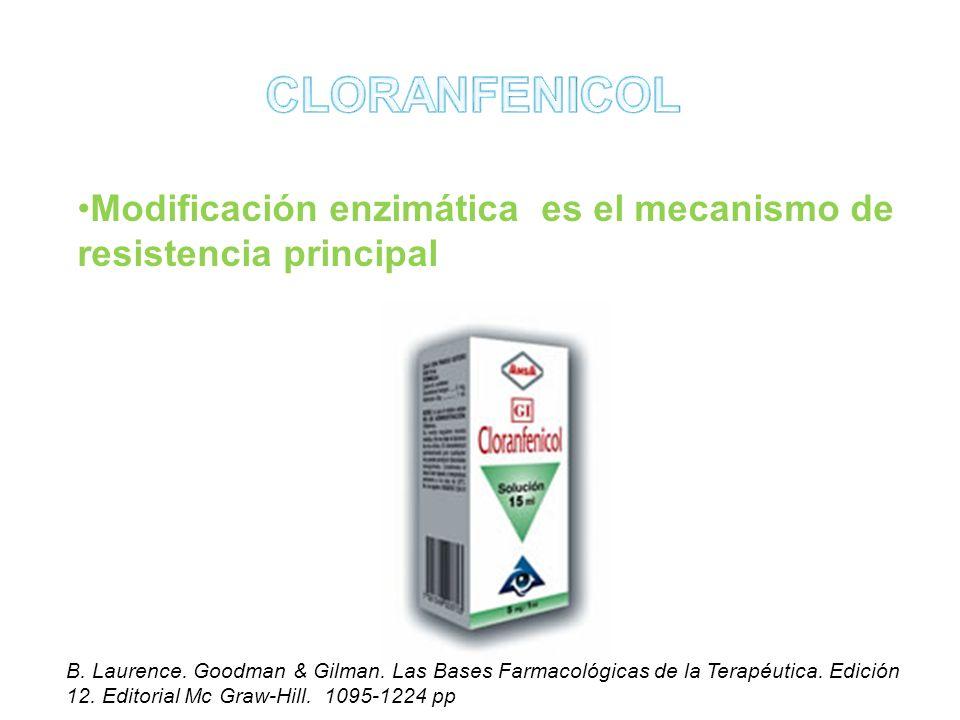 CLORANFENICOL Modificación enzimática es el mecanismo de resistencia principal.