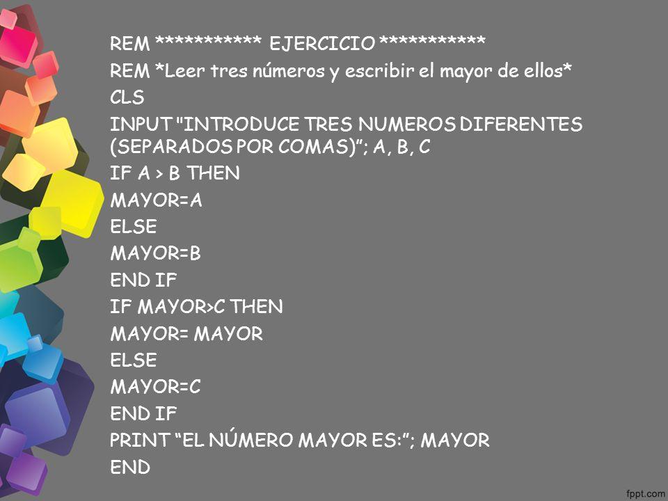 REM *********** EJERCICIO ***********