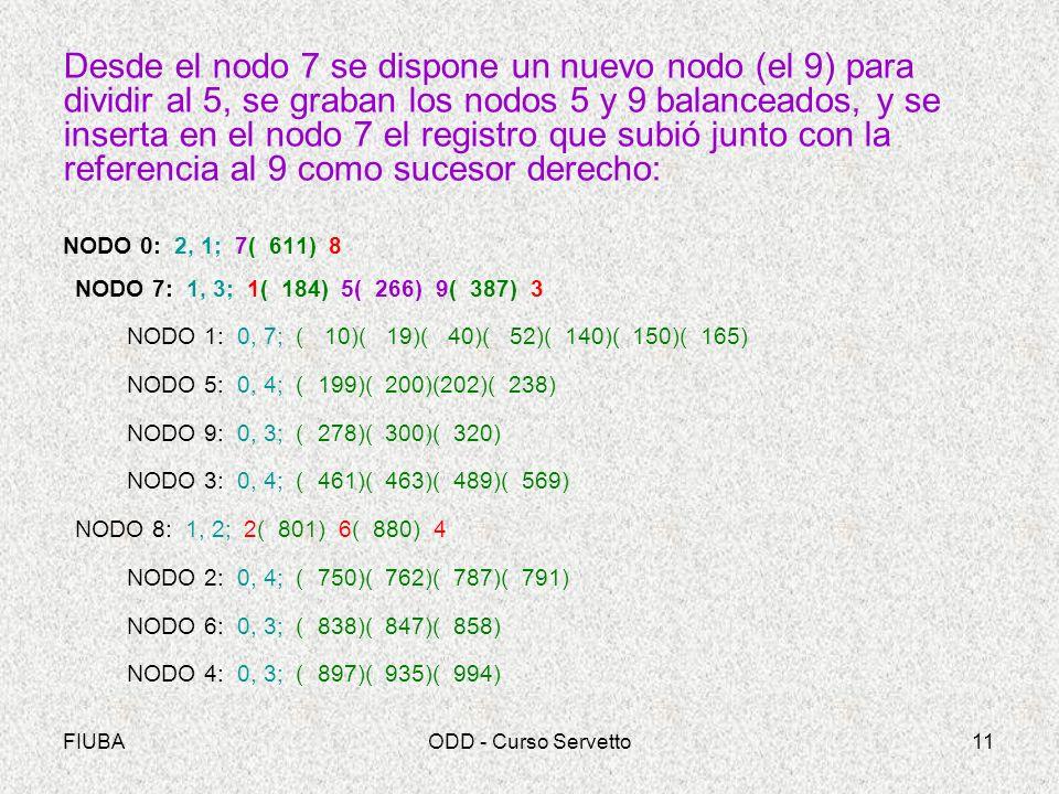 Desde el nodo 7 se dispone un nuevo nodo (el 9) para dividir al 5, se graban los nodos 5 y 9 balanceados, y se inserta en el nodo 7 el registro que subió junto con la referencia al 9 como sucesor derecho: