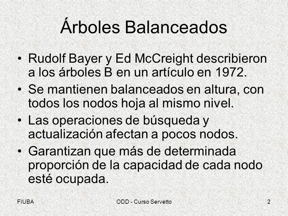 Árboles Balanceados Rudolf Bayer y Ed McCreight describieron a los árboles B en un artículo en 1972.