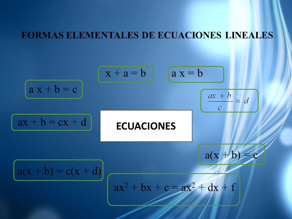 x + a = b a x = b a x + b = c ax + b = cx + d a(x + b) = c