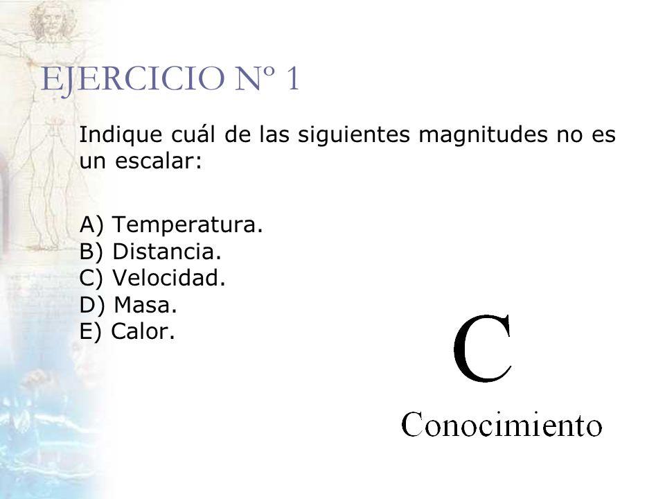 EJERCICIO Nº 1 Indique cuál de las siguientes magnitudes no es un escalar: A) Temperatura.