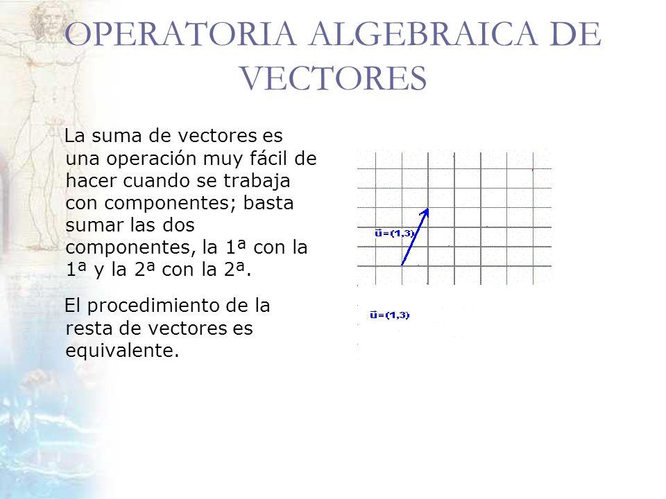 OPERATORIA ALGEBRAICA DE VECTORES