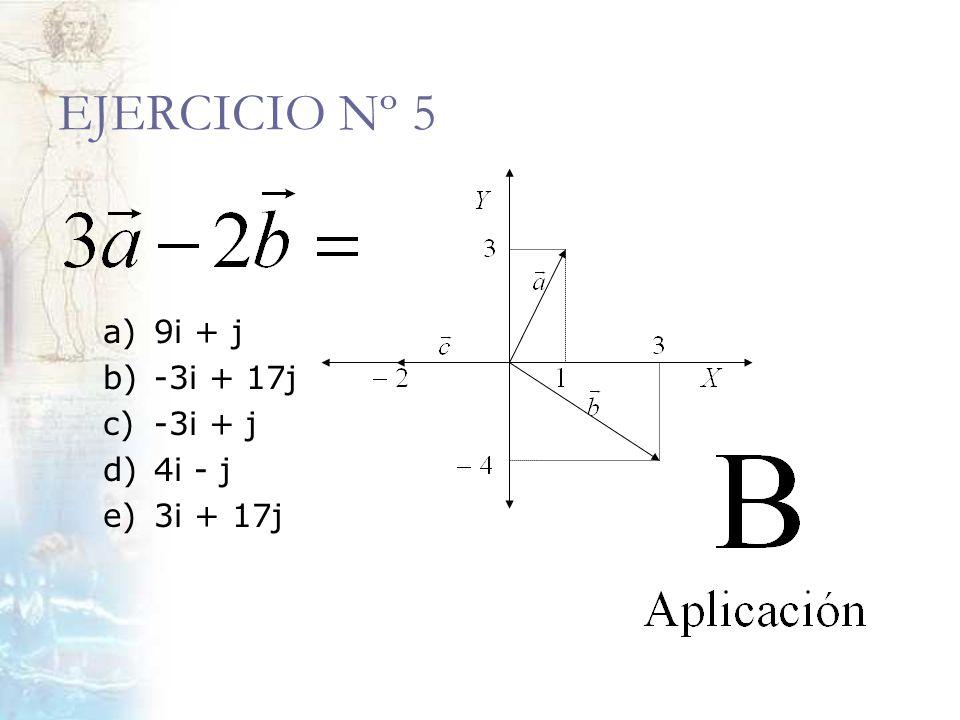 EJERCICIO Nº 5 a) 9i + j b) -3i + 17j c) -3i + j d) 4i - j e) 3i + 17j