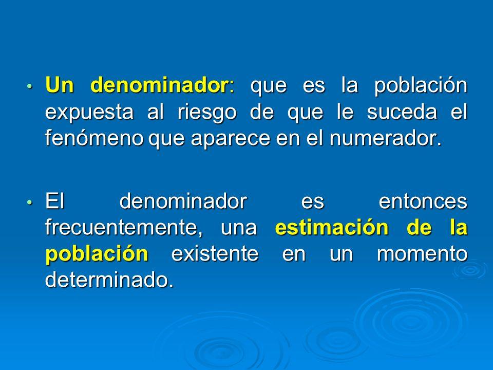 Un denominador: que es la población expuesta al riesgo de que le suceda el fenómeno que aparece en el numerador.