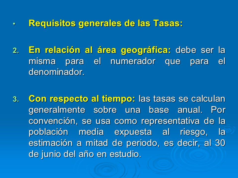 Requisitos generales de las Tasas: