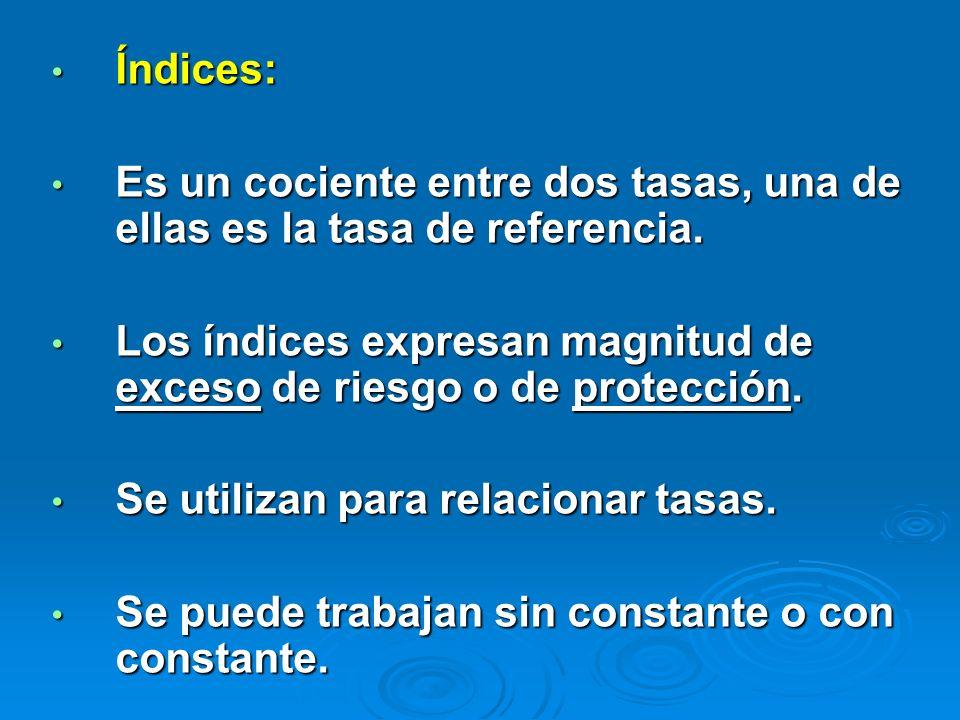 Índices: Es un cociente entre dos tasas, una de ellas es la tasa de referencia. Los índices expresan magnitud de exceso de riesgo o de protección.