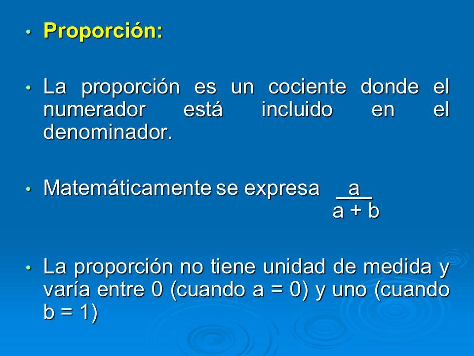 Proporción: La proporción es un cociente donde el numerador está incluido en el denominador.