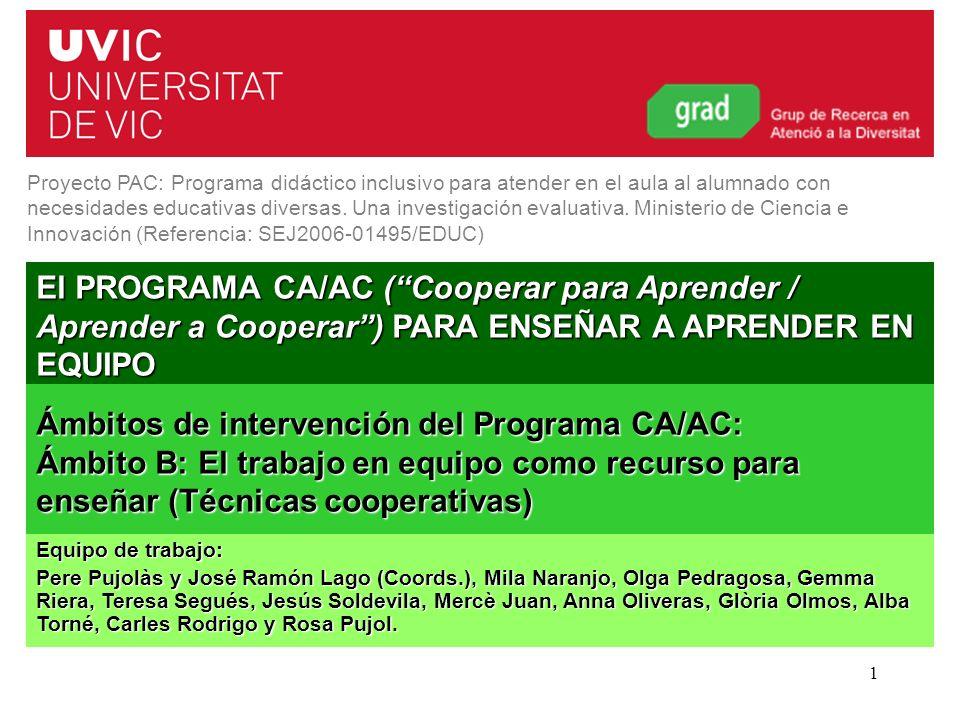 Ámbitos de intervención del Programa CA/AC: