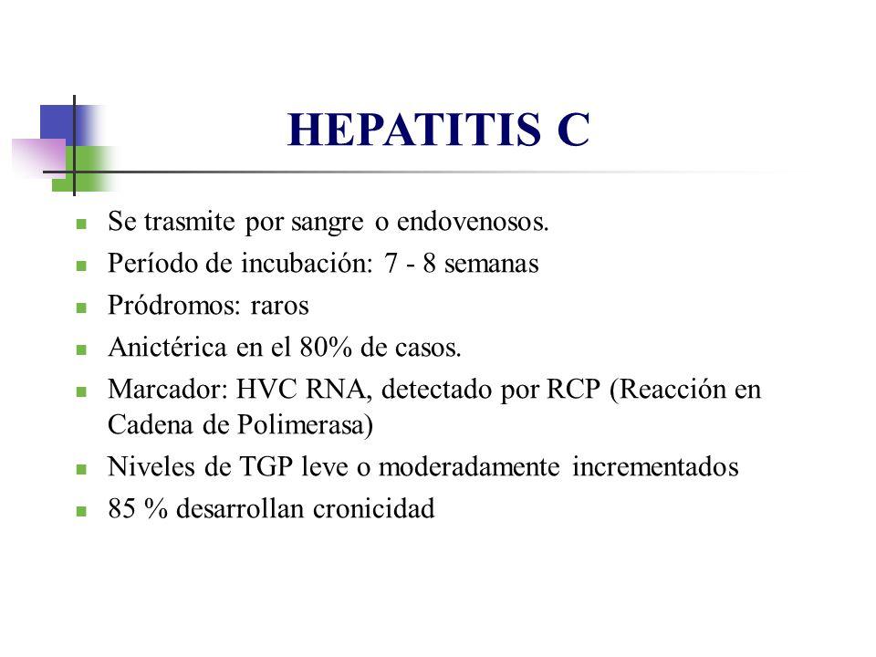 HEPATITIS C Se trasmite por sangre o endovenosos.