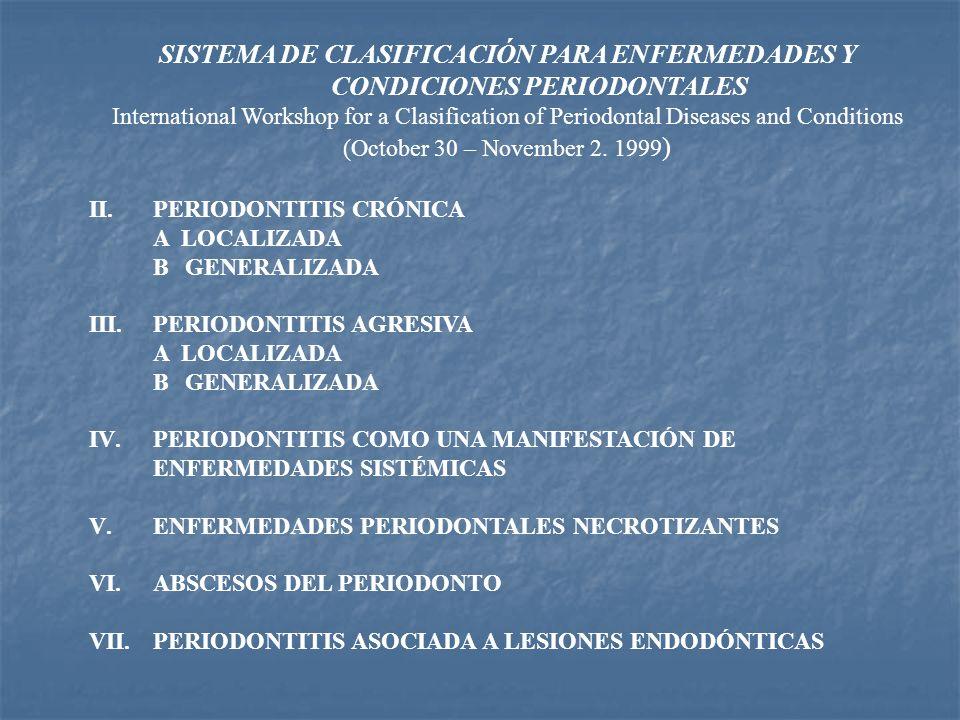 SISTEMA DE CLASIFICACIÓN PARA ENFERMEDADES Y CONDICIONES PERIODONTALES