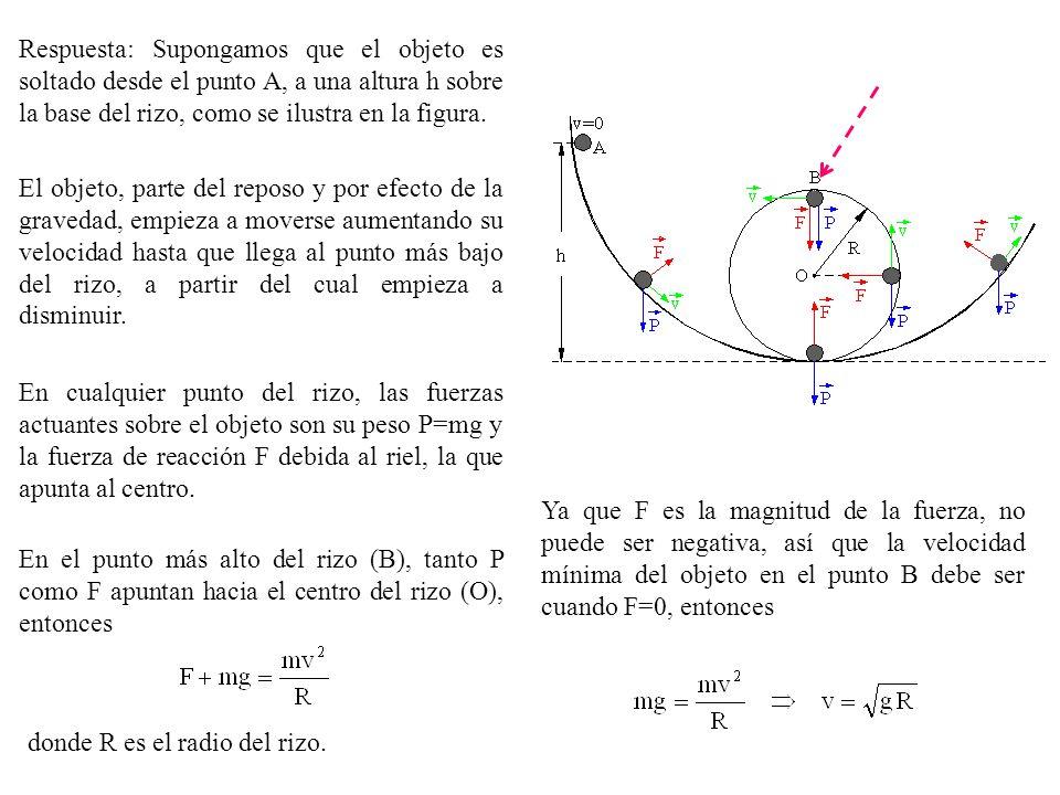 Respuesta: Supongamos que el objeto es soltado desde el punto A, a una altura h sobre la base del rizo, como se ilustra en la figura.